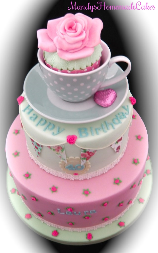 Vintage Themed 2 Tier Tea Cup 40th Birthday Celebration Cake