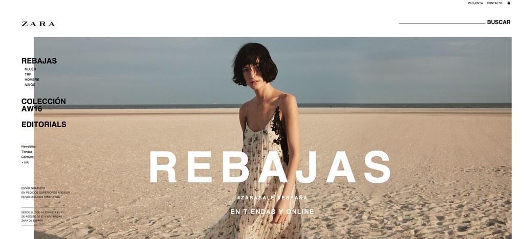 Captura de Zara en rebajas de verano de 2016