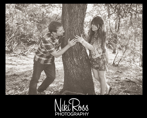 PlayingBehindTreeSepia | by Chico Photographer- Niki Ross Photography