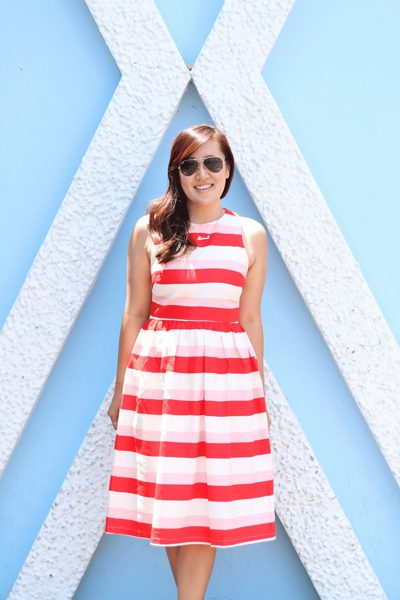 simplyxclassic, miriam gin, striped dress, red and pink striped dress, asos dress, fit and flare dress, minnie mouse ears, what to wear to disneyland, travel blogger, fashion blogger,
