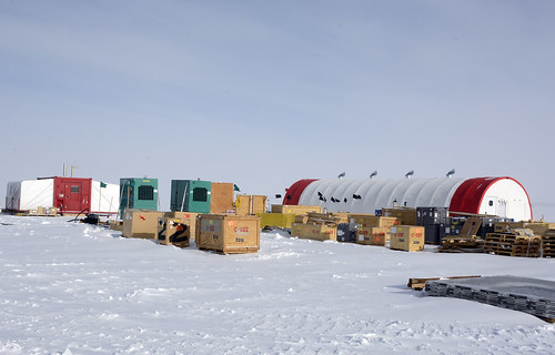 The South Pole Ice Core (SPICE) field camp is located about two kilometers from the South Pole Station | by U.S. Ice Drilling