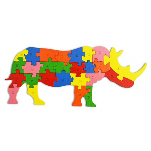 Lắp ghép đồ chơi gỗ - con tê giác