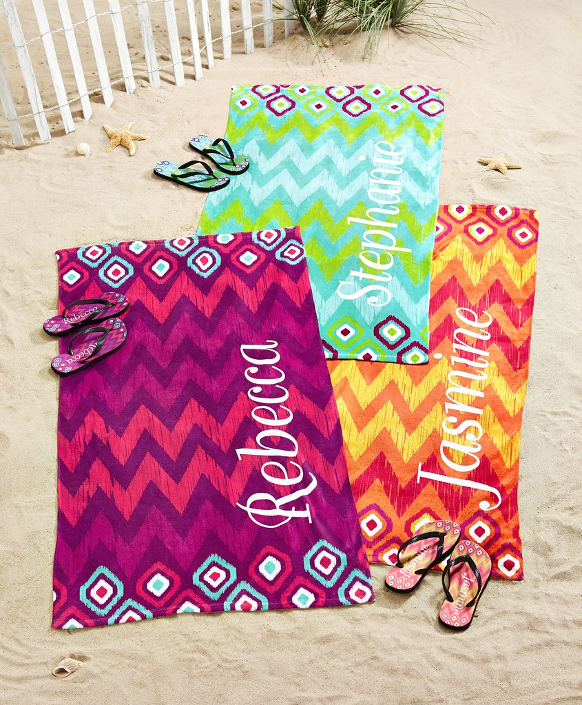 personalized beach towels and flip flops sandals on the sa flickr