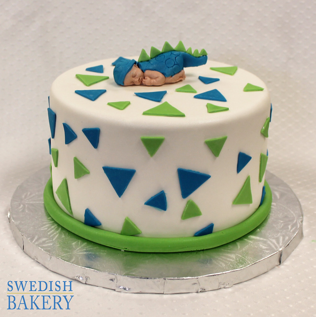 Dino Baby With Triangles Single Tier Fondant Baby Shower Flickr