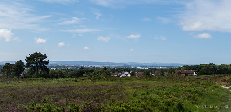 Looking towards Poole and the Purbeck Hills