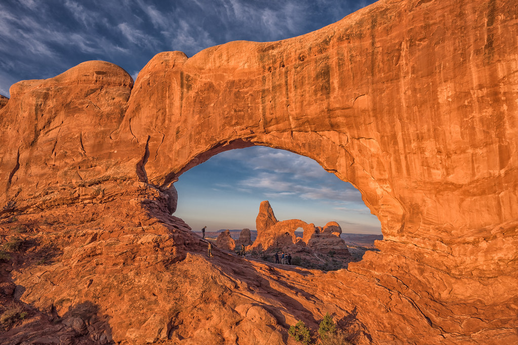 Turret Arch through North Window at sunrise at Arches National Park, Moab, Utah