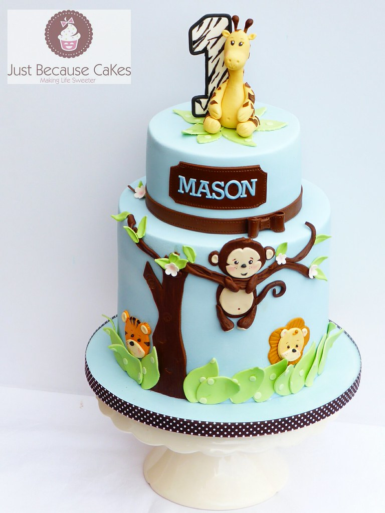 Jungle Animals First Birthday Cake For A Boy A Giraffe A Flickr