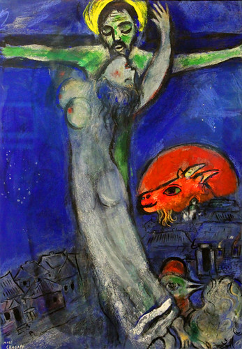 Crucifixion under a Blue Sky with Red Goat | Crucifixion ... Marc Chagall Crucifixion
