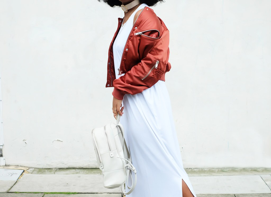 BURGUNDY BOMBERS, OVERSIZED DRESSES