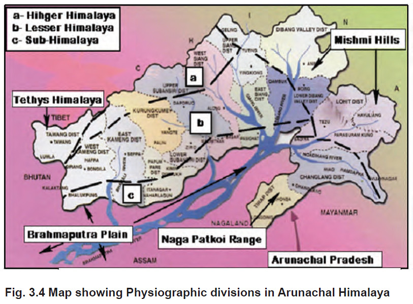 Map showing Physiographic divisions in Arunachal Himalaya | Flickr