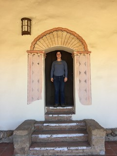 Jessica in little doorway, Mission San Antonio de Padua, Jolon California, July 2016