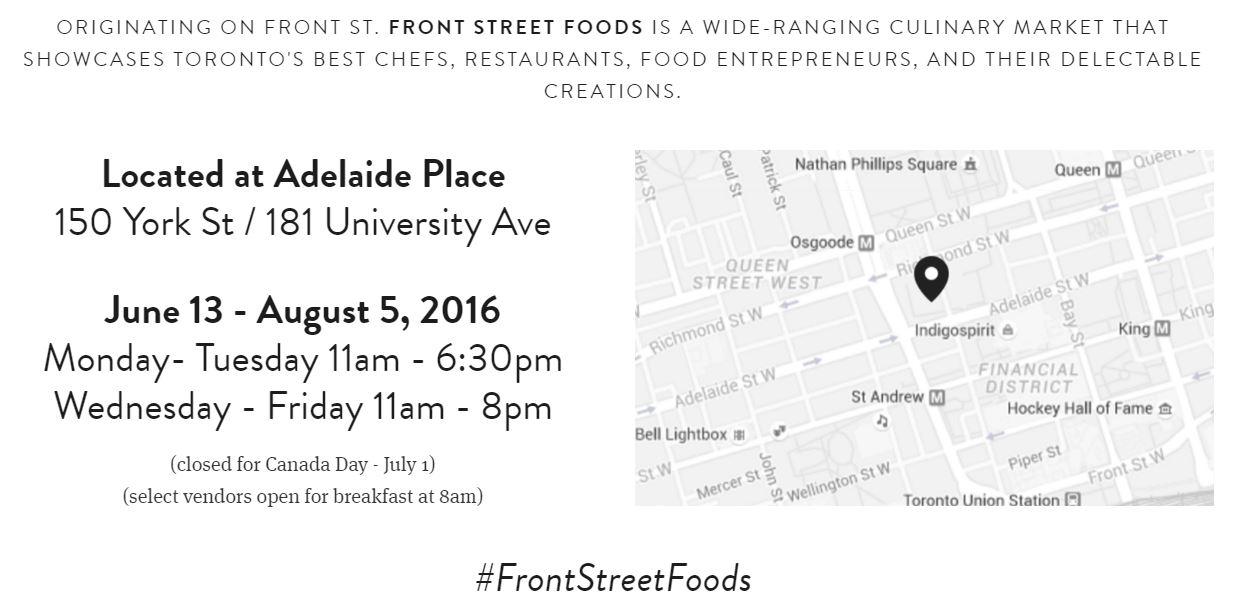 Front Street Foods schedule