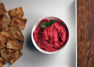 roasted beet hummus with mint garnish | by Farm Fresh To You -