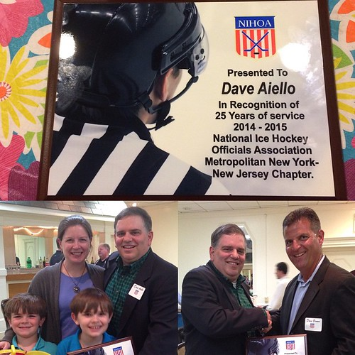 On Sunday I was recognized by the Metro NY-NJ Chapter of NIHOA as a member of their organization for 25 years.  Thanks to Kathleen, Jimmy, and Peter, and to my fellow officials for making this milestone possible.  See you on the ice again next Fall. | by Dave Aiello