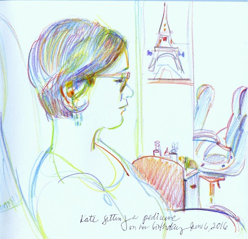 Kate, birthday pedicure. Sketch of my daughter.