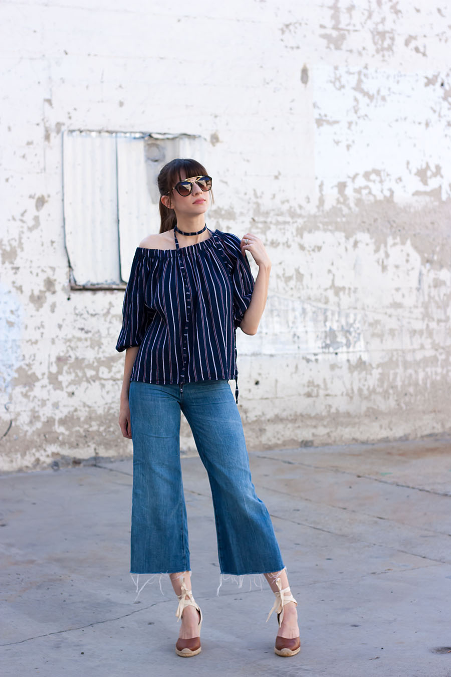 Storets Off the Shoulder Top, Zara Denim, Zara Culottes, Designer Sunglasses