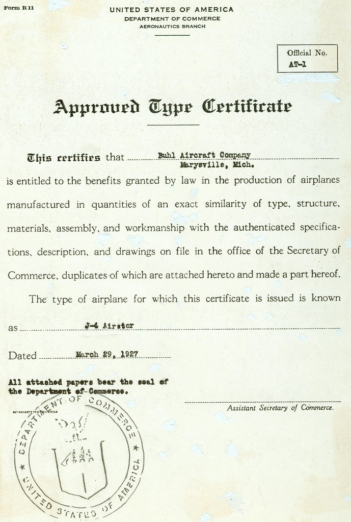 Aircraft Type Certificate No 1 Issued On March 29 The Ae Flickr