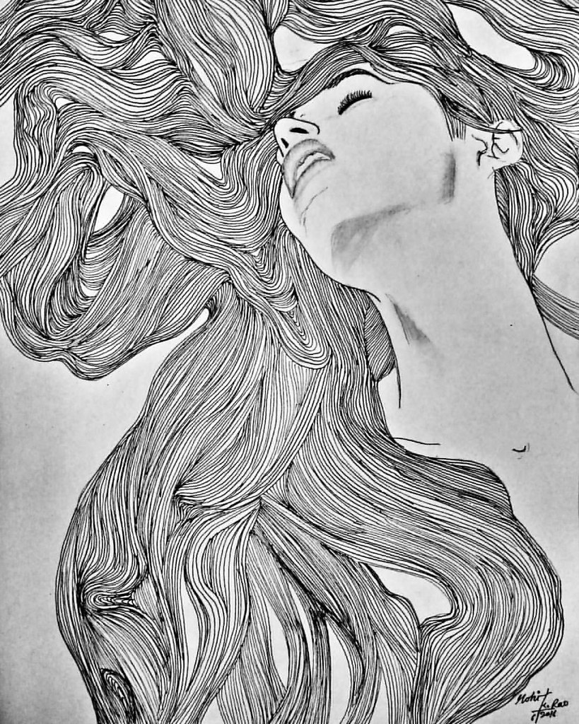 girl hair line pen and ink drawing on a3 paper draw by moh flickr