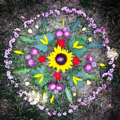 Garden Mandala No. 67 Happy Summer Solstice! (I used Lucas's graduation flowers, which were on their last legs.) #summer #flowers #mandala #flowerstagram #landart #gardenartflowers #gardenart #mandalaart #ephemeral #ephemeralart #waldorfhome #sunflower #g