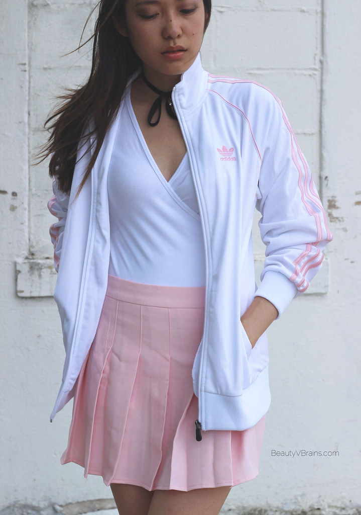 White and pink Adidas track zip jacket