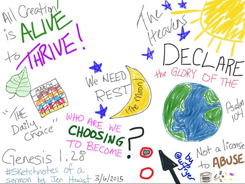 Sketchnote of Genesis 1:28 sermon by Jen Howat | by Wesley Fryer
