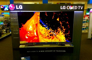LG OLED TV 4000k Television display, Best Buy 5/2016, pics by Mike Mozart of TheToyChannel and JeepersMedia on YouTube #LG #OLED #TV #Television #4000k | by JeepersMedia
