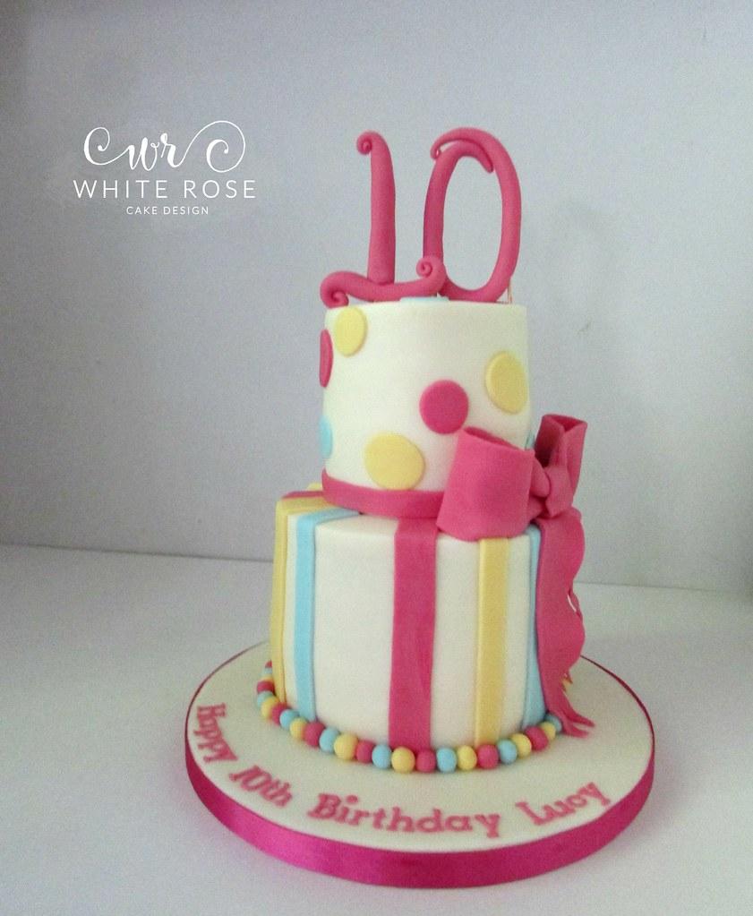 Two Tier Bright Pink Girls Birthday Cake Www Whiterosecake Flickr