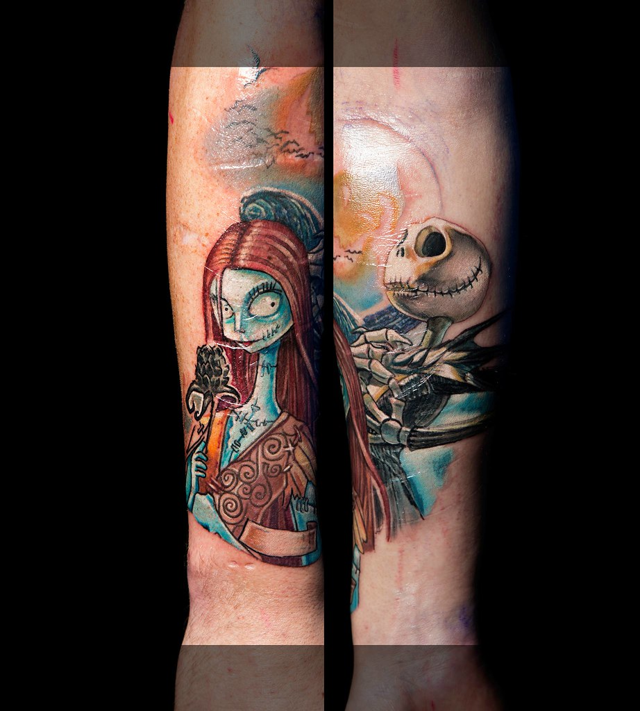 Color nightmare before christmas tattoo. Sleeve started | Flickr
