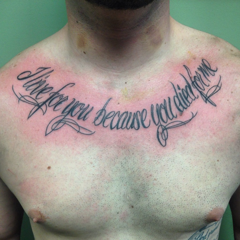 1430 Meriden Rd Script Chest Tattoo By Wes Fortier