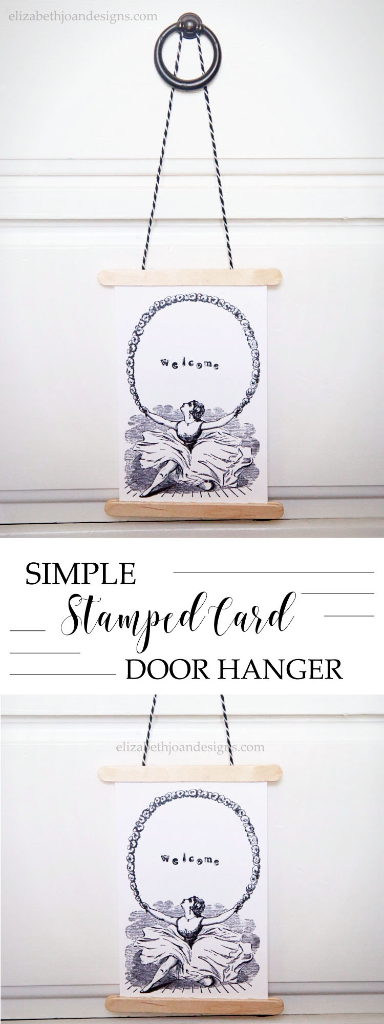 Simple Stamped Card Door Hanger - an easy 5 minute craft & it's great as a privacy door hanger