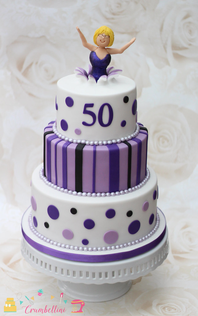 Purple 50th Tiered Birthday Cake Purple spotty and striped Flickr