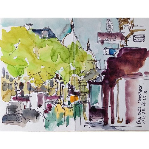 Today 39 s sketch in paris visiting my friend disbonjoura for Restaurant le miroir rue des martyrs