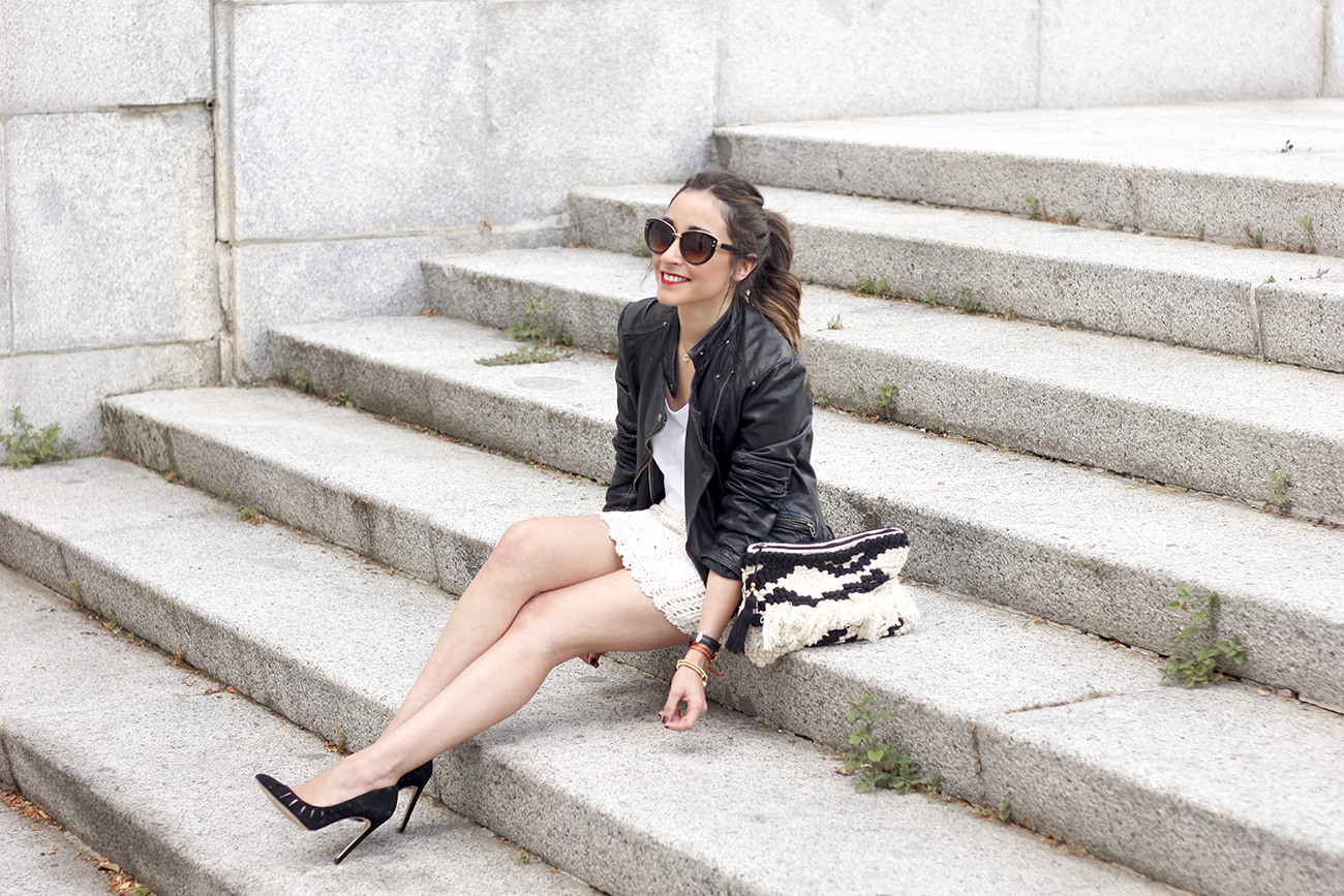 crochet skirt leather jacket black heels sunnies spring outfit style08