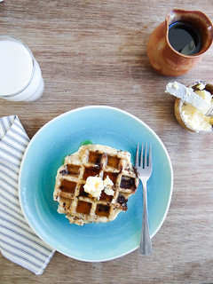 coconut chocolate chunk waffles | by heatherpoire