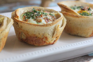 egg toast cups with parsley pepper and and bacon | by PersonalCreations.com