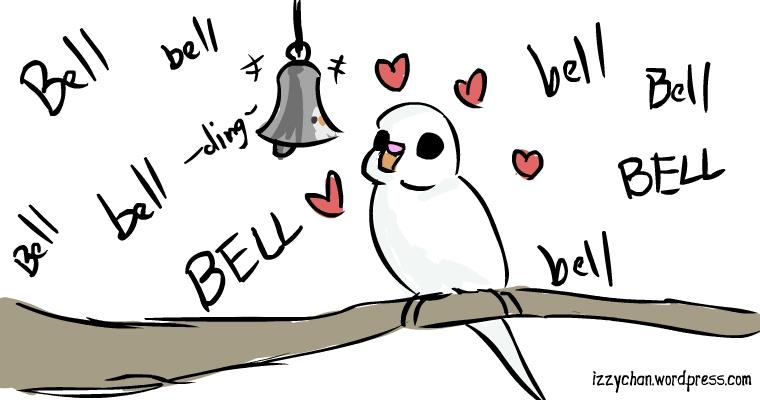 white bird parakeet bell