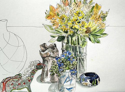 Still life with bouquet, embroidered horse, and beaded flowers | by cassandrapages