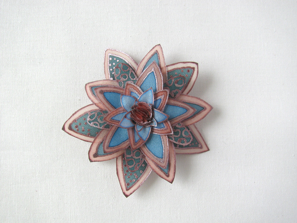 Muted colors old rose and teal silk flower brooch flickr old rose and teal silk flower brooch by simutes mightylinksfo