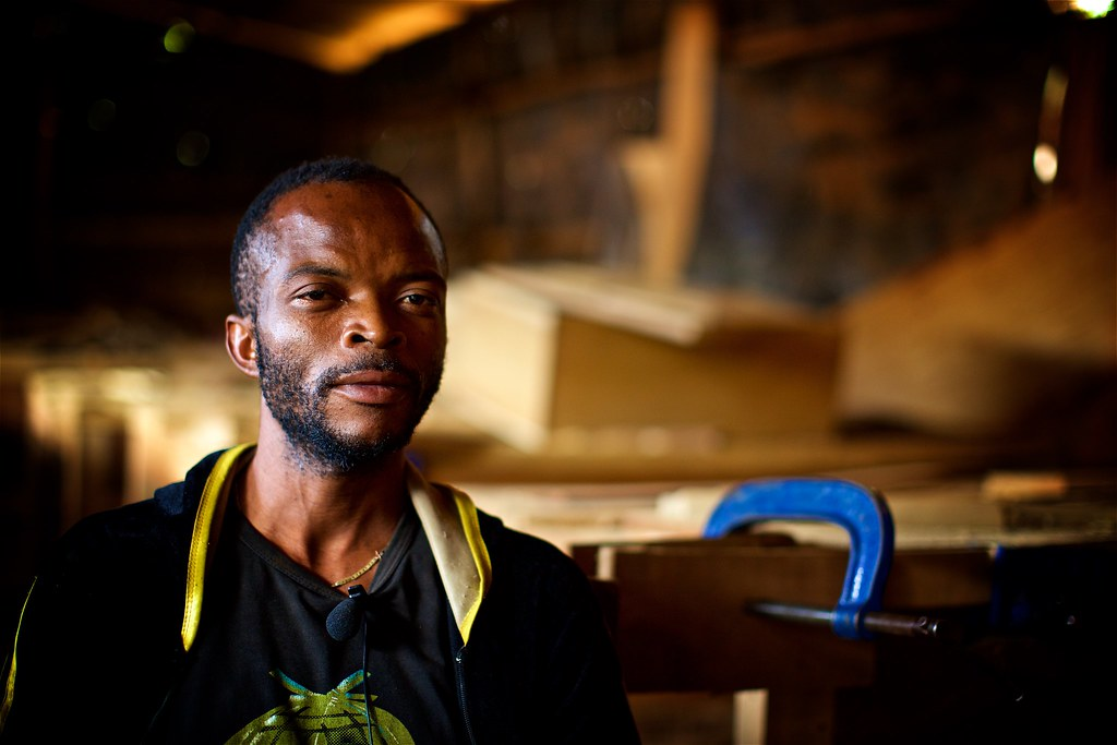 Musa, a Congolese carpentry student and refugee in Kampala, Uganda