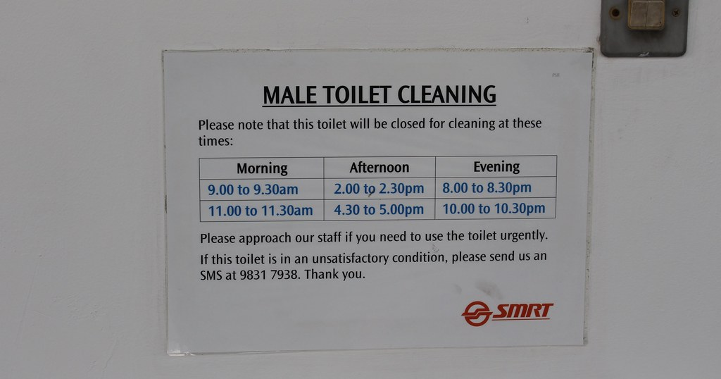 Singapore: MRT station toilet cleaning schedule