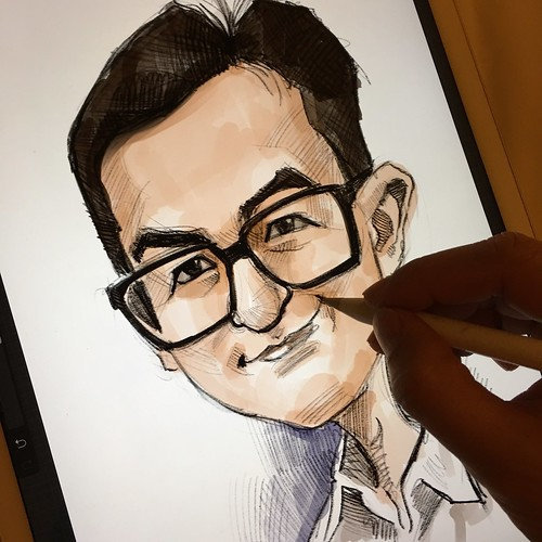 Digital caricature sketch of 馬榮成 on iPad Pro + Apple Pencil in Procreate | by jit@portraitworkshop.com