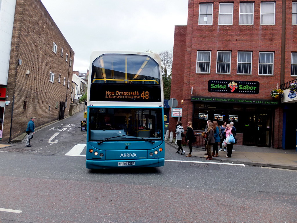 Arriva 7444 Y694 Ebr Leaves Durham Bus Station On Route 48 To New Ncepeth