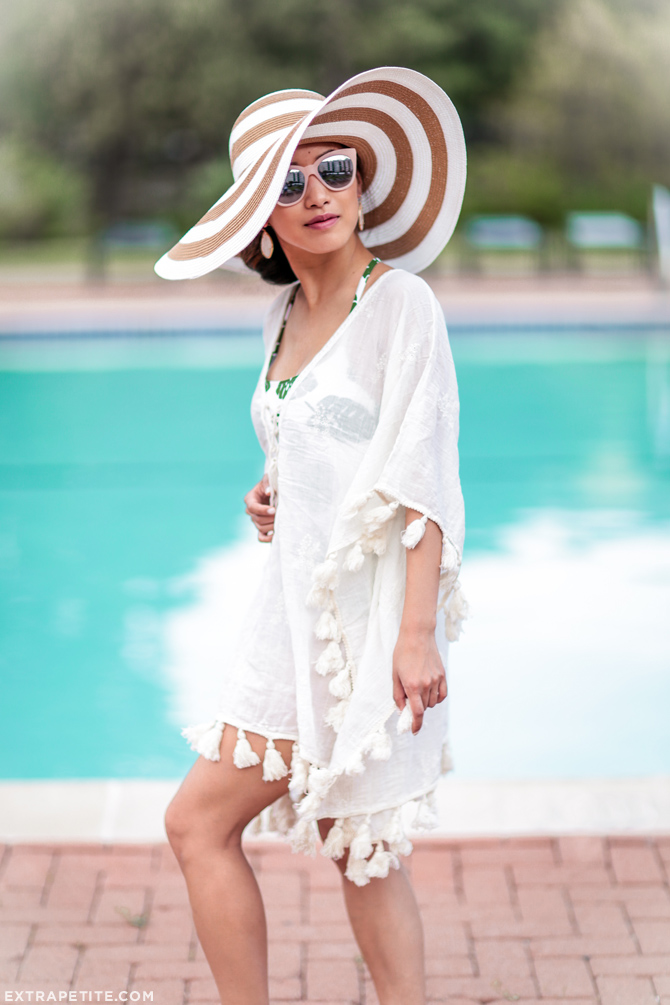 white pom fringe tassel cover up beach outfit