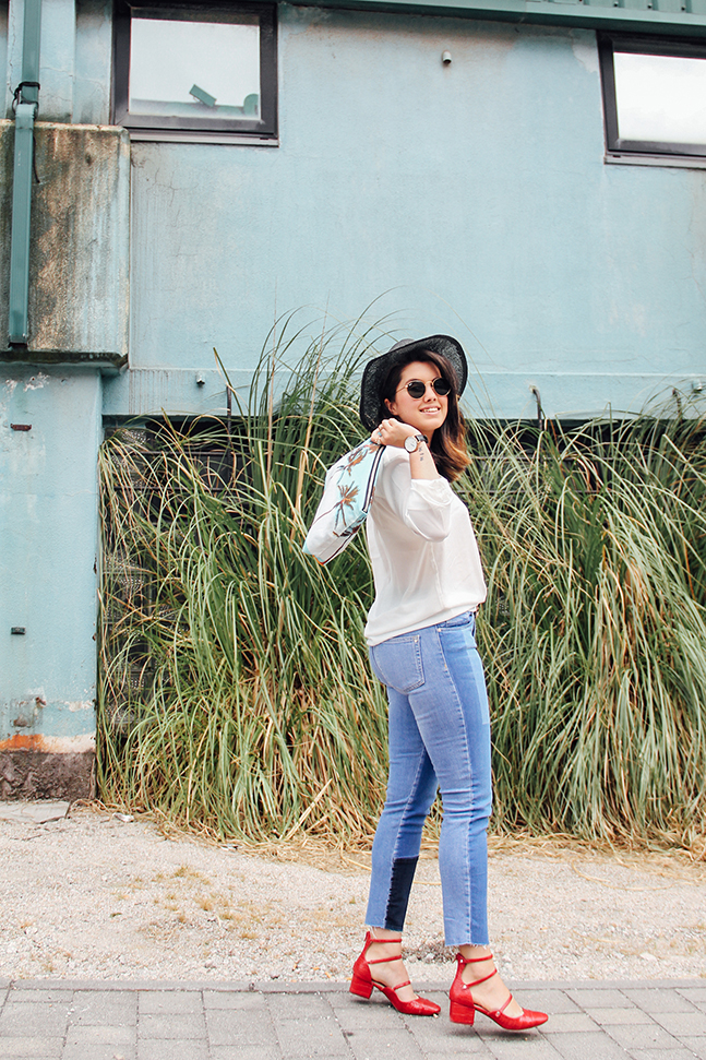 jeans denim patchwork zara with palm spring clutch samudra red heels streetstyle