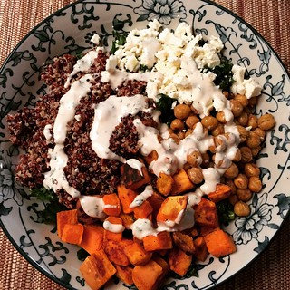 Dinner! (kale, quinoa, roasted sweet potatoes and chickpeas, feta, tahini dressing) | by katolswick