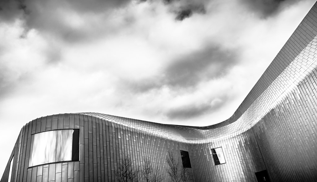 Riverside museum glasgow scotland black and white architecture photography by giuseppe milo