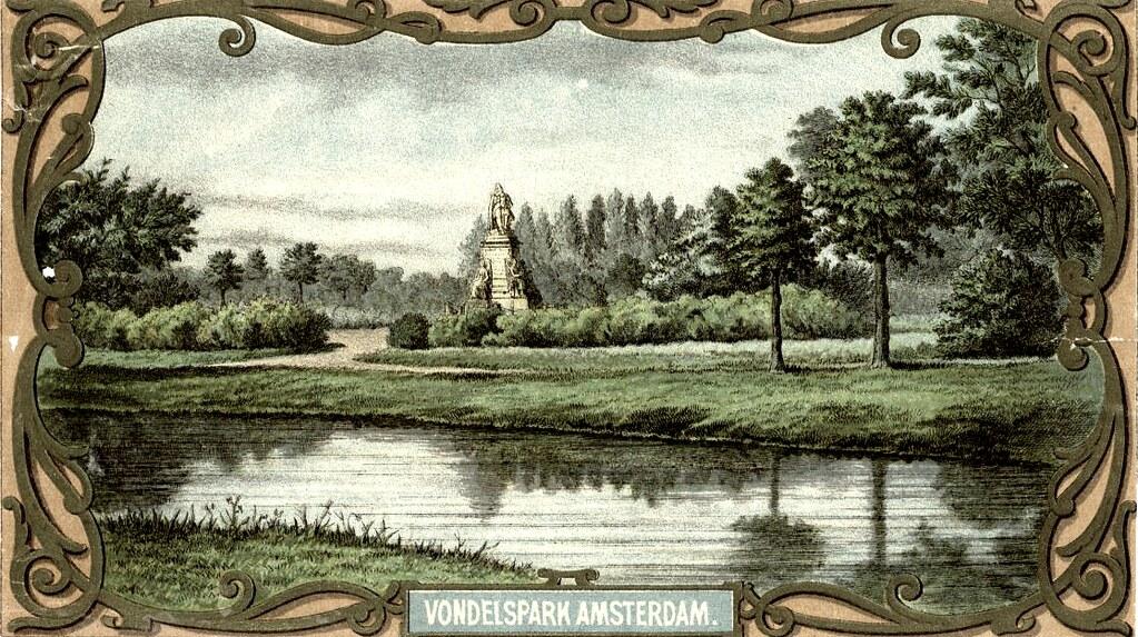 Carte postale du parc Vondelpark d'Amsterdam en 1867 peu après sa création.