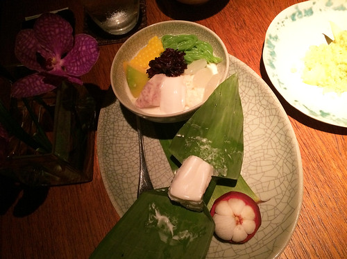 Pandanus noodles with black sticky rice,  water chestnuts, tapioca, coconut cream | by mariamjaan