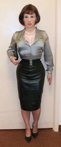 Kathy Leigh Leather Pencil Skirt And Satin Blouse Kathy