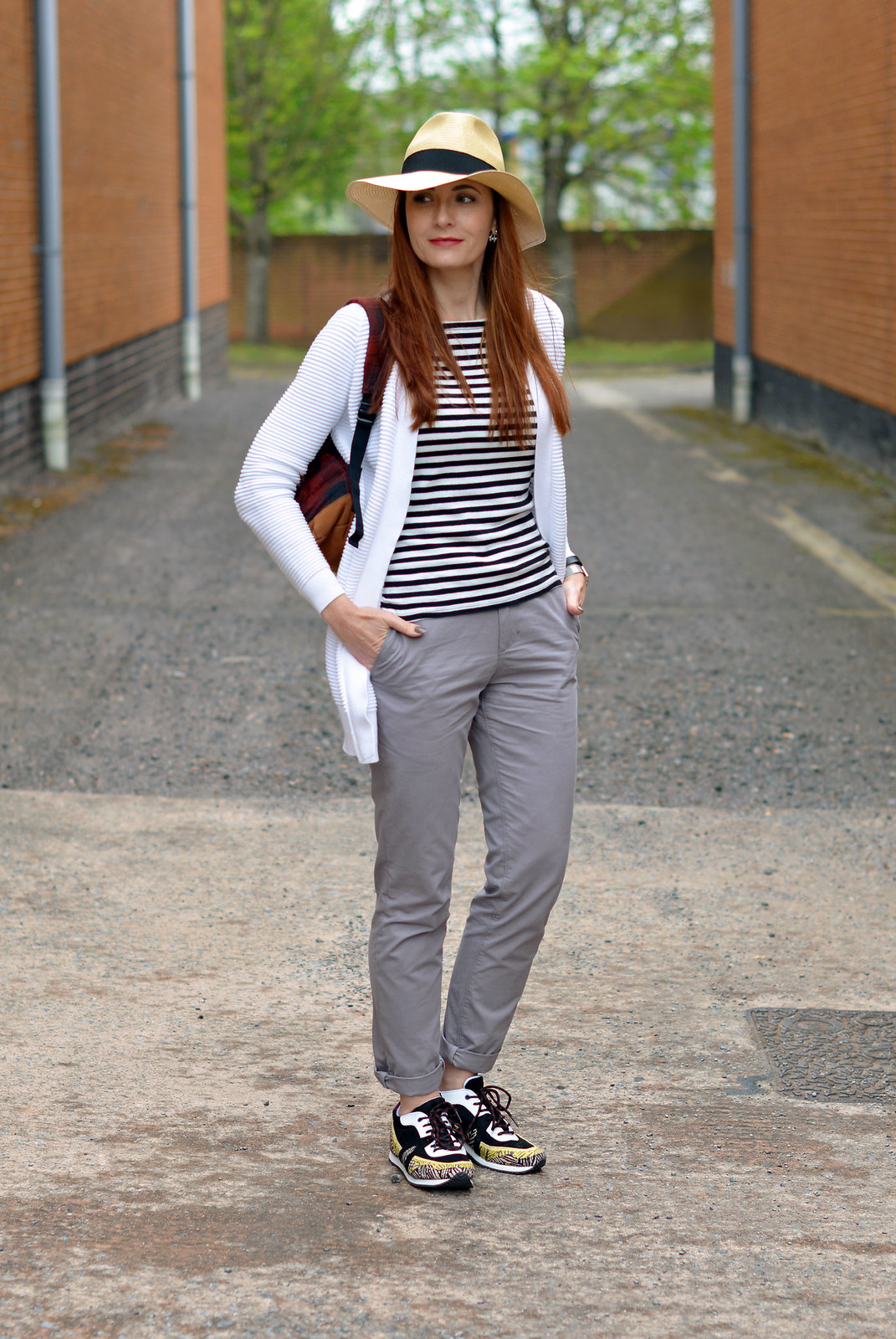 Spring style | Straw fedora, Breton stripes, chinos and multi coloured sneakers